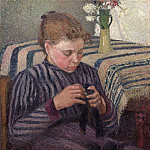 Camille Pissarro - Young Girl Mending Her Stockings. (1895)