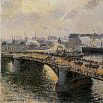 Camille Pissarro - The Pont Boieldieu , Rouen - Sunset, Misty Weather. (1896)