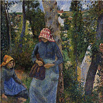 Camille Pissarro - Two Young Peasants Chatting under the Trees. (1881)