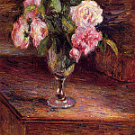 Camille Pissarro - Roses in a Glass. (1877)