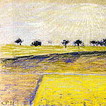 Camille Pissarro - Sunrise over the Fields, Eragny. (1891)