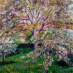 Camille Pissarro - Wallnut and Apple Trees in Boom at Eragny. (1895)