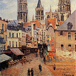 Camille Pissarro - Rue de l'Eppicerie, Rouen - Morning, Grey Weather. (1898)