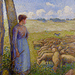Camille Pissarro - Shepherdess and Sheep. (1887)