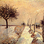 Camille Pissarro - Road at Eragny - Winter. (1885)