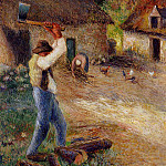 Camille Pissarro - Pere Melon Cutting Wood. (1880)
