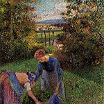 Camille Pissarro - Women Gathering Grass. (1883)