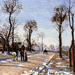 Camille Pissarro - Street - Winter Sunlight and Snow. (1872)
