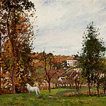 Camille Pissarro - Landscape with a White Horse in a Meadow, LHermitage. (1872)