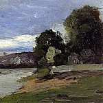 Camille Pissarro - Banks of a River with Barge. (1864)