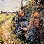 Camille Pissarro - Seated and Kneeling Peasants. (1893)