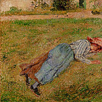 Camille Pissarro - Resting, Peasant Girl Lying on the Grass, Pontoise. (1882)