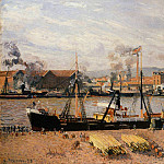 Camille Pissarro - The Port of Rouen - Unloading Wood. (1898)