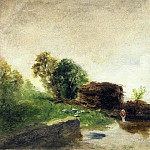 Camille Pissarro - Laundress on the Banks of the River. (1850-59)