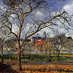 Camille Pissarro - On Orchard in Pontoise in Winter. (1887)