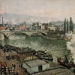 Camille Pissarro - The Pont Corneille , Rouen - Grey Weather. (1896)