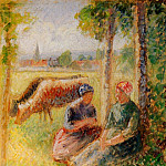 Camille Pissarro - Two Cowherds by the River. (1888-95)