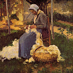 Camille Pissarro - Peasant Woman Carding Wool. (1875)