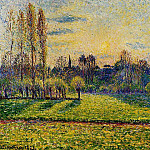 Camille Pissarro - View of Bazincourt, Sunset. (1892)