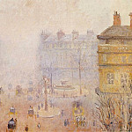 Camille Pissarro - Place du Theatre Francais - Foggy Weather. (1898)