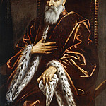 Palma il Giovane (Jacopo Negretti) - Portrait of a Venetian Senator, seated three-quarter length, wearing a Red Velvet Cloak