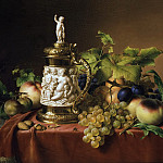 Jan Baptist Lodewyck Maes - Dessert fruit with ivory tankard