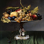 Julius Hübner - Fruits in a porcelain dish