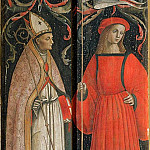 Lo Spagna (Giovanni di Pietro) - Two Pilasters with Saint Sebastian, a Holy Monk, and Saint Vescovo (left) and St Roch, St Monaca, and Unidentified Saint (right)