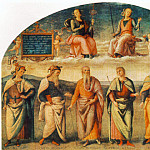 Pietro Perugino - Prudence and Justice with Six Antique Wisemen 1497