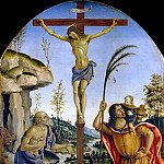 Christ Crucified between Saints Jerome and Christopher in a Landscape