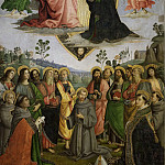 Coronation Virgin with Apostles and St Francis Assisi, Bernardino, Antony Padua, Louis Toulouse, Bonaventure, De Schryver Louis Marie