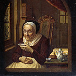 Karl Kuntz - Old woman having coffee