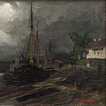 City view with harbor. Study