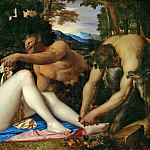 Evaristo Baschenis - Venus and Cupid with two satyrs in a landscape