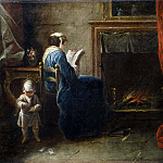 Petrus van Regemorter - Woman Reading in front of a Fireplace