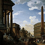 Capriccio with important monuments of ancient Rome, Giovanni Paolo Panini