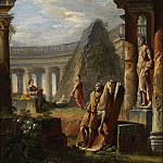 Giovanni Paolo Panini - capriccios of classical ruins with Pyramid of Cestius