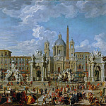 Preparations for fireworks and decoration for the festival given in honor of the birth of Louis, the Dauphin of France, in the Piazza Navona, Giovanni Paolo Panini