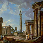 A capriccio of Roman ruins with the Pantheon, the Temple of Antonino and Faustina, the statue of Marco Aurelio, the Trajan Column, the Temple of Fortuna Virilis, the Temple of Vesta, Giovanni Paolo Panini