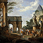 A capriccio of the Roman forum, with the Arch of Constantine, the Pyramid of Cestius and the Colosseum beyond, figures by a fountain in the foreground, 1737, Giovanni Paolo Panini