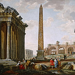 A CAPRICCIO VIEW OF ROME WITH ANCIENT RUINS AND THE FLAMINIAN OBELISK, Giovanni Paolo Panini