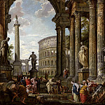 An architectural capriccio with the philosopher Diogenes and other figures by a fountain beneath a portico with the Colosseum, the column of Trajan, Hercules and the Hydra, the Farnese Hercules, and, Giovanni Paolo Panini
