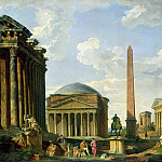 The Pantheon and other Monuments 1735, Giovanni Paolo Panini
