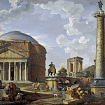 Landscape with the Pantheon and other Monuments of Ancient Rome, Giovanni Paolo Panini