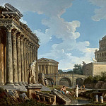 A CAPRICCIO OF HADRIAN S MAUSOLEUM, THE TEMPLE OF FORTUNA VIRILIS, THE MILVIAN BRIDGE ANDTHE BASILICA OF ANTONINUS WITH THE FARNESE HERCULES, THE MEDICI VASE, Giovanni Paolo Panini