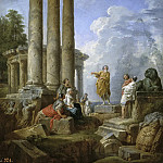 Ruins with St Paul Preaching, Giovanni Paolo Panini