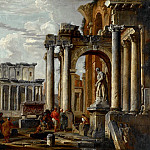 Giovanni Paolo Panini - Ruins with the Temple of Antonius and Faustina, 1727-1730