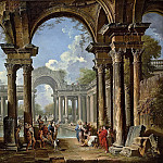 Giovanni Paolo Panini - An architectural capriccio with Christ at the Pool of Bethesda