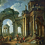 Giovanni Paolo Panini - Sermon of an Apostle in the ruins of an architecture in Doric style