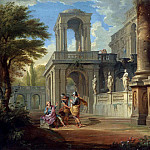 AN ARCHITECTURAL CAPRICCIO WITH TWO SOLDIERS ADDRESSING A YOUNG MAN, FIGURES ON A BALCONY BEYOND, Giovanni Paolo Panini